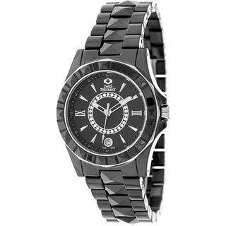 Swiss Precimax Women's 'Fiora' Black Ceramic Swiss Quartz Watch