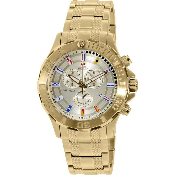Swiss Precimax Men's 'Armada Pro' Goldtone Swiss Chronograph Watch