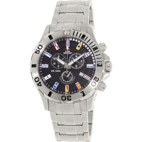 Swiss Precimax Men's 'Armada Pro' Silver/ Black Dial Swiss Chronograph Watch