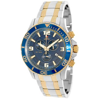 Swiss Precimax Men's 'Tarsis Pro' Blue/Goldtone Dial Swiss Chronograph Watch