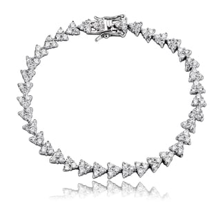 Collette Z Sterling Silver Cubic Zirconia Triangle Link Bracelet