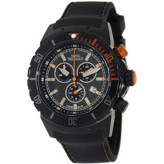 Swiss Precimax Men's 'Pursuit Pro Sport' Black/Orange Stainless-Steel Swiss Chronograph Watch