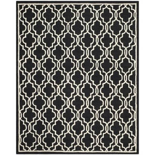 Safavieh Handmade Cambridge Moroccan Abstract Black Wool Rug (9' x 12')