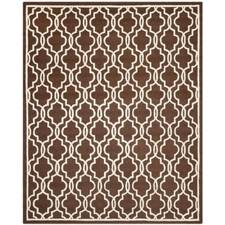 Safavieh Handmade Moroccan Cambridge Dark Brown Wool Rug (9' x 12')