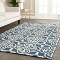 Safavieh Handmade Cambridge Moroccan Traditional-Cross Pattern Navy Wool Rug (6' x 9')