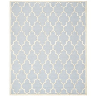 Safavieh Handmade Moroccan Cambridge Oriental Light Blue Wool Rug (9' x 12')