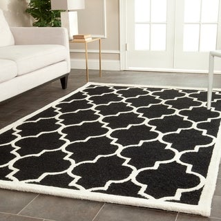 Safavieh Handmade Cambridge Moroccan Black Geometric Wool Rug (9' x 12')