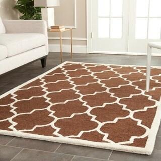 Safavieh Handmade Cambridge Moroccan Dark Brown Geometric-Patterned Wool Rug (6' x 9')