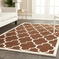 Safavieh Handmade Cambridge Moroccan Dark Brown Geometric-Patterned Wool Rug (6' x 9')