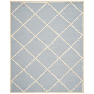 Safavieh Handmade Cambridge Moroccan Light Blue Diamond Pattern Wool Rug (6' x 9')