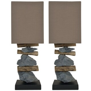 Safavieh Highlander Natural Stone Indoor Table Lamps (Set of Two)