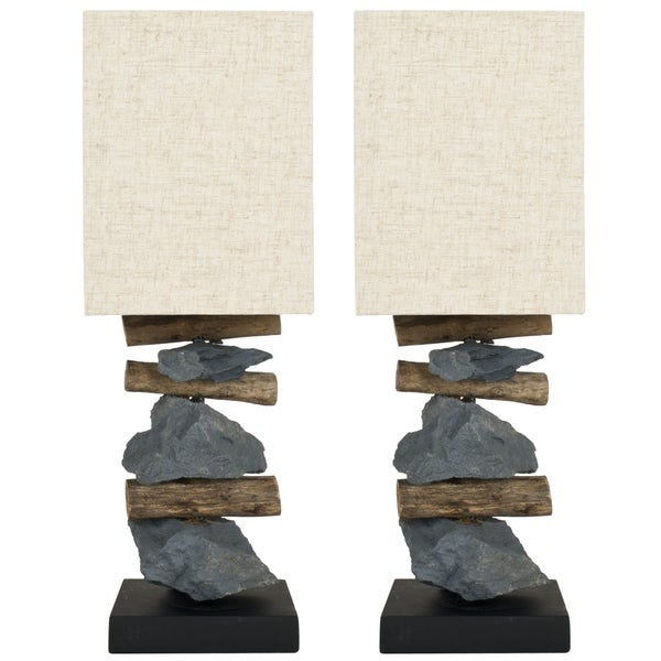 Safavieh Lighting 19.7-inch Highlander Natural Stone Table Lamps (Set of 2)