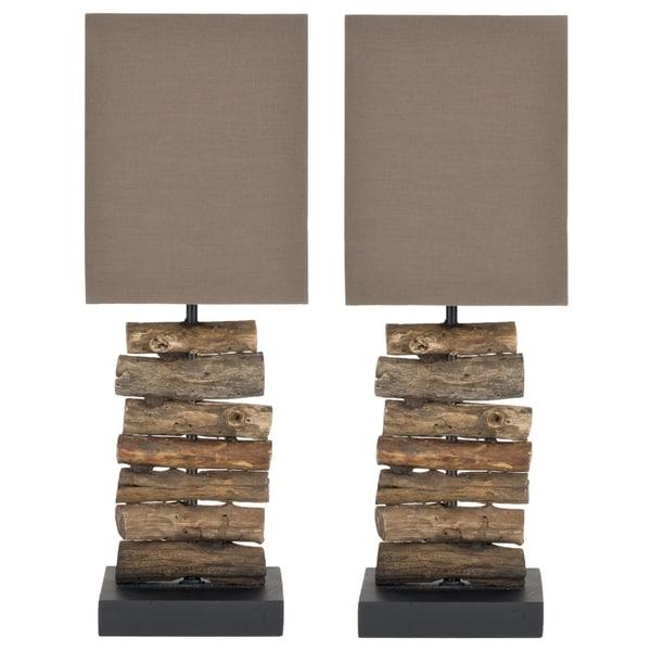 safavieh woodland natural wood table lamps set of 2. Black Bedroom Furniture Sets. Home Design Ideas