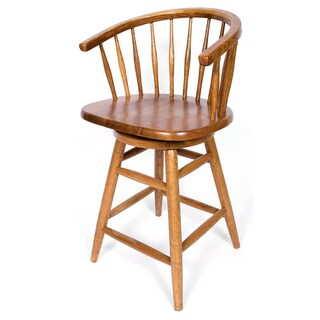 Solid Medium Oak Hoop Back Swivel 24-inch Counter Height Barstool