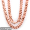 Sterling Essentials 14k Rose Gold Overlay 9mm Men's Cuban Link Chain (22-30 inches)