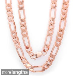 Sterling Essentials Rose Gold Overlay Men's Diamond-cut Figaro Chain (22-30 inches)