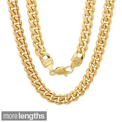 Sterling Essentials 14k Gold Overlay 6.5mm Men's Cuban Link Chain (22-24 inches)