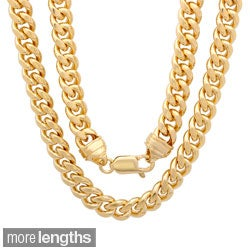 Sterling Essentials 14k Gold Overlay 7.5mm Men's Cuban Link Chain (22-30 inches)