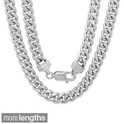 Sterling Essentials Rhodium-plated 7.5mm Men's Cuban Link Chain (22-30 inches)