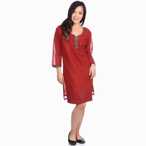 Women's Red Chanderi Embroidered Silk Tunic/ Kurti (India) 11021549