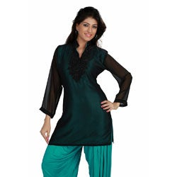 Black Fine Georgette Beaded Kurti Tunic (India)