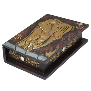 8-Inch Gold Elephant Book-Style Box (Indonesia)