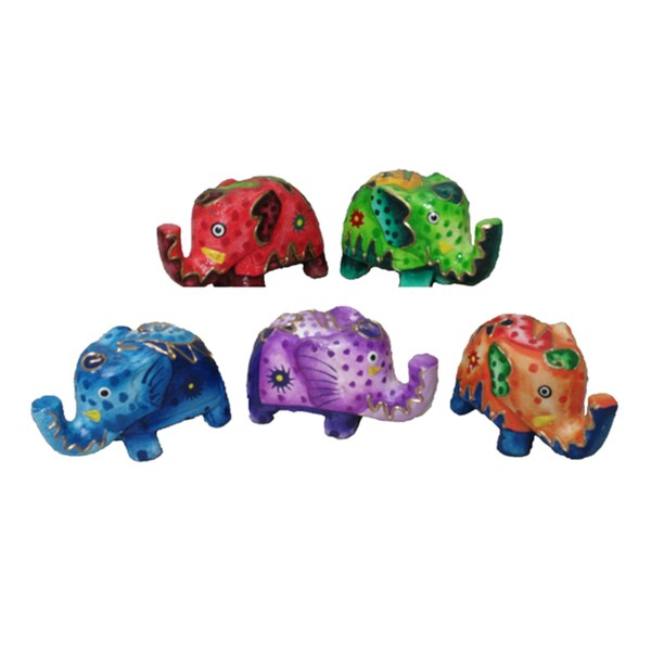 Set of 5 Carved Wood Elephants (Indonesia)