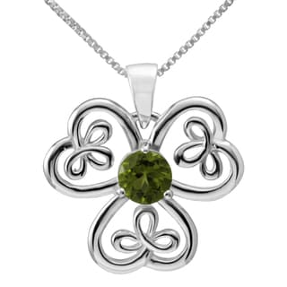 Sterling Silver 'Celtic Shamrock' Round Natural Peridot Gemstone Necklace (Thailand)