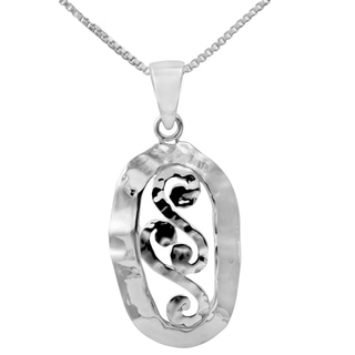 Sterling Silver Filigree Oval Swirly Design Necklace (Thailand)