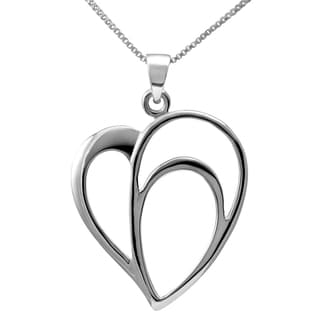 Sterling Silver Open Heart Necklace (Thailand)
