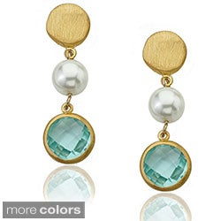 Riccova 14k Goldplated Faux Pearl and Faceted Glass Earrings