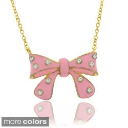 Molly and Emma 18k Gold Overlay Children's CZ and Enamel Bow Necklace