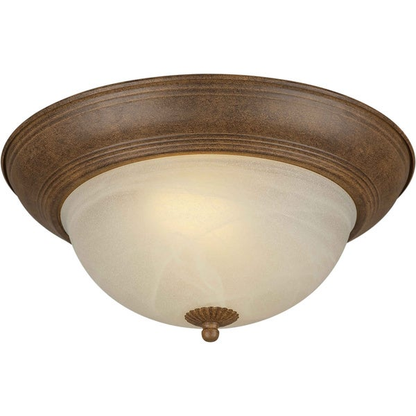 Cambridge 13.25-inch 2-light Chestnut Flush Mount