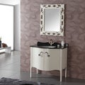 Granite Top Single White Bathroom Vanity with Mirror