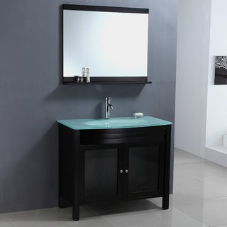 Modern Tempered Glass Top Single Sink Bathroom Vanity and Mirror