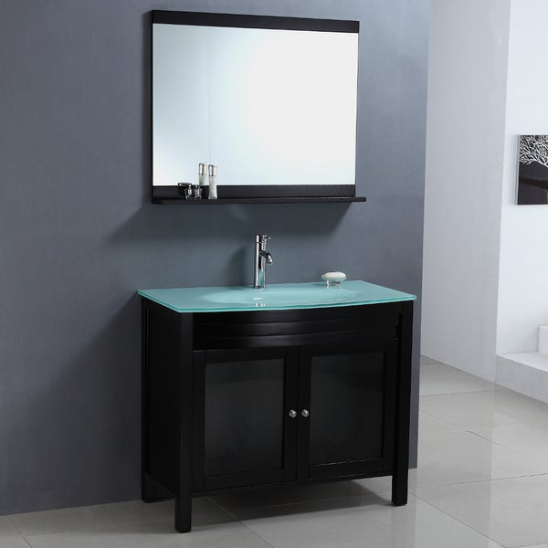Modern Tempered Glass Top Single Sink Bathroom Vanity And Mirror 15316474
