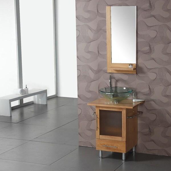 New  Natural Wood Modern Bathroom Vanity W Mirror  Bathroom Vanities