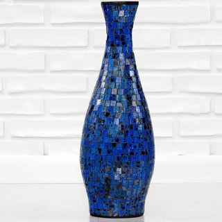 Ocean Blue Small Mosaic Decorative Vase (Indonesia)
