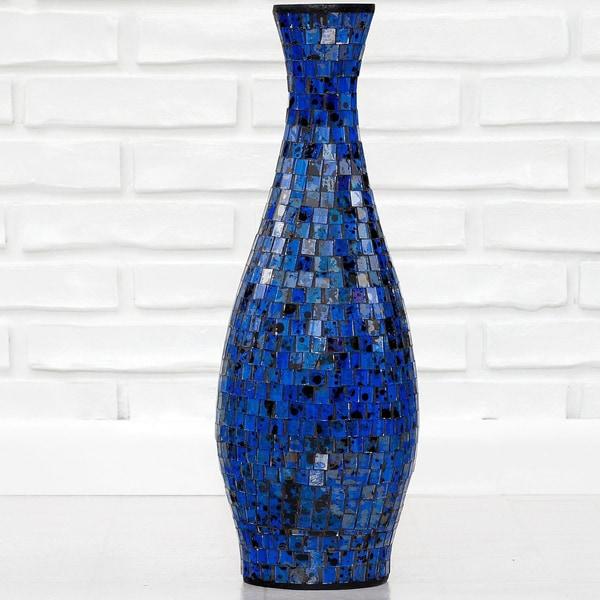 Ocean Blue Small Mosaic Decorative Vase (Indonesia)