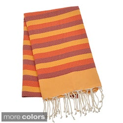 Authentic Fouta Natural Cotton Tri-Color Beach Towel (Tunisia)