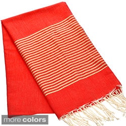 Authentic Fouta Natural Cotton Towel with Gold Lurex Stripes (Tunisia)