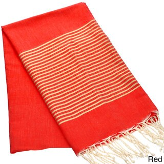 Authentic Fouta Natural Cotton Towel with Gold Lurex Stripes (Tunisia)