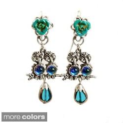 Sweet Romance Silvertone or Bronzetone Glass Teardrop Baby Owl Earrings