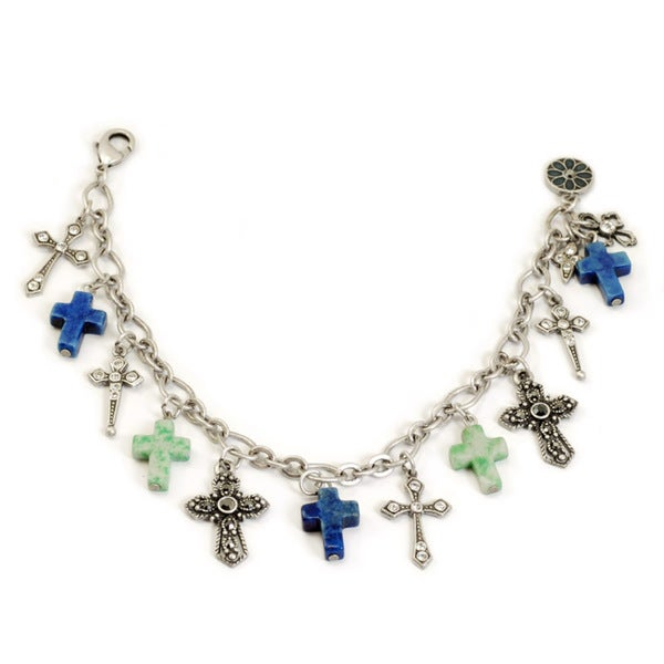 Sweet Romance Blues Cross Charm Bracelet