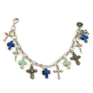 Sweet Romance Blues Cross Charm Bracelet
