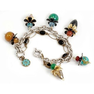 Sweet Romance Silvertone Multi-colored Glass Flower Bracelet