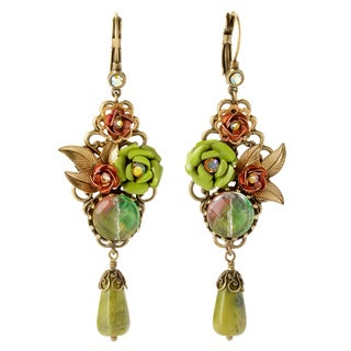 Sweet Romance Bronzetone Sage and Kiwi Glass Rose Earrings