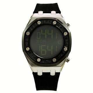 Techno Com by KC Men's Black Diamond Digital Watch