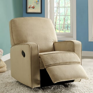 Bentley Camel Brown Fabric Modern Nursery Swivel Glider Recliner Chair