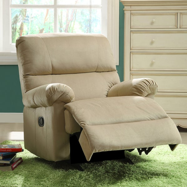 Payton Sand Brown Fabric Nursery Rocker Recliner Chair